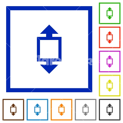 Height tool framed flat icons - Set of color square framed height tool flat icons
