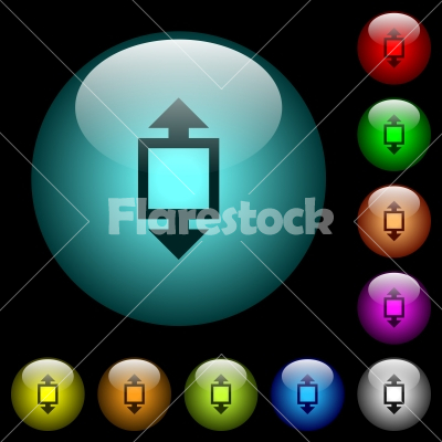 Height tool icons in color illuminated glass buttons - Height tool icons in color illuminated spherical glass buttons on black background. Can be used to black or dark templates