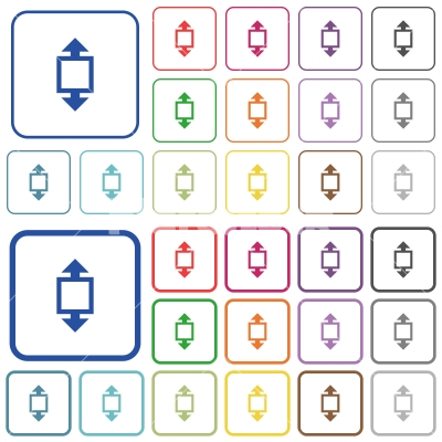 Height tool outlined flat color icons - Height tool color flat icons in rounded square frames. Thin and thick versions included.