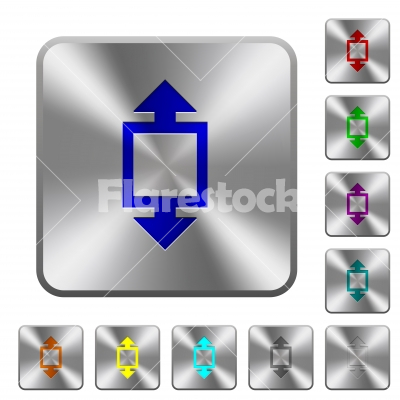Height tool rounded square steel buttons - Height tool engraved icons on rounded square glossy steel buttons