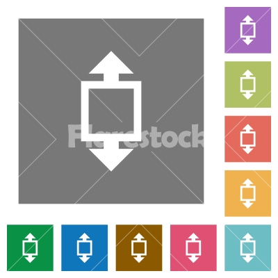 Height tool square flat icons - Height tool flat icons on simple color square backgrounds