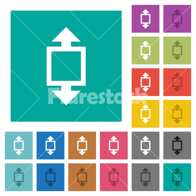 Height tool square flat multi colored icons - Height tool multi colored flat icons on plain square backgrounds. Included white and darker icon variations for hover or active effects.