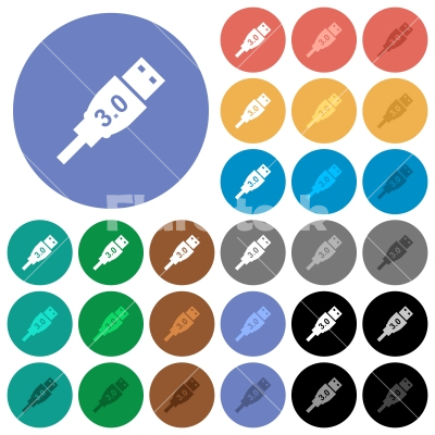 High speed USB round flat multi colored icons - High speed USB multi colored flat icons on round backgrounds. Included white, light and dark icon variations for hover and active status effects, and bonus shades on black backgounds. - Free stock vector