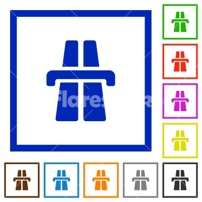 Highway framed flat icons - Set of color square framed highway icons on white background