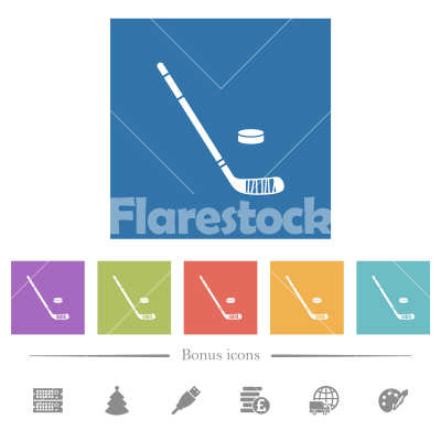 Hockey stick and puck flat white icons in square backgrounds - Hockey stick and puck flat white icons in square backgrounds. 6 bonus icons included. - Free stock vector