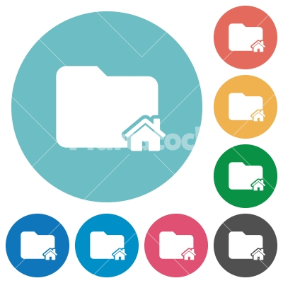 Home folder flat round icons - Home folder flat white icons on round color backgrounds