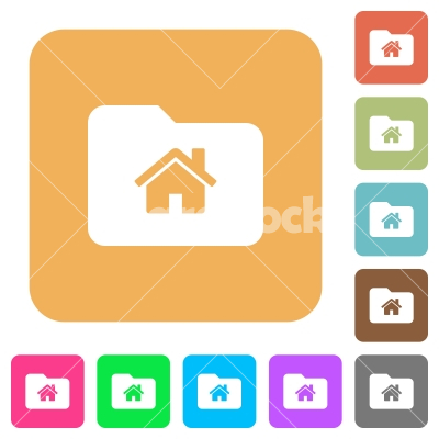 Home folder rounded square flat icons - Home folder flat icons on rounded square vivid color backgrounds.