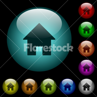 Home icons in color illuminated glass buttons - Home icons in color illuminated spherical glass buttons on black background. Can be used to black or dark templates