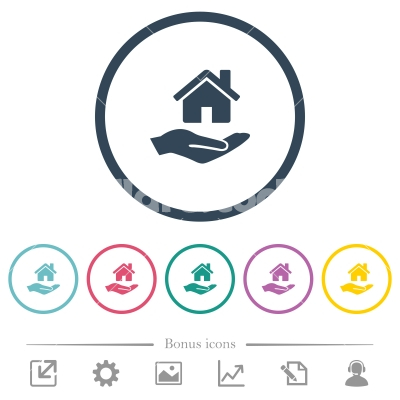 Home insurance flat color icons in round outlines - Home insurance flat color icons in round outlines. 6 bonus icons included.