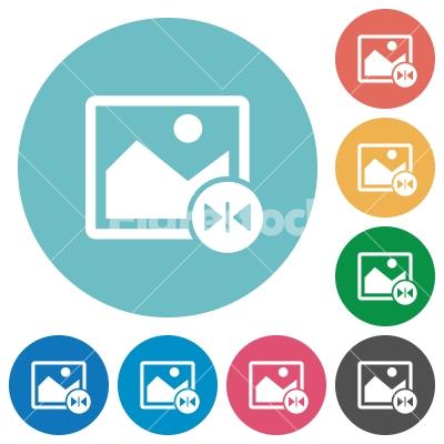 Horizontal flip image flat round icons - Horizontal flip image flat white icons on round color backgrounds