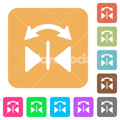 Horizontal flip rounded square flat icons - Horizontal flip flat icons on rounded square vivid color backgrounds.