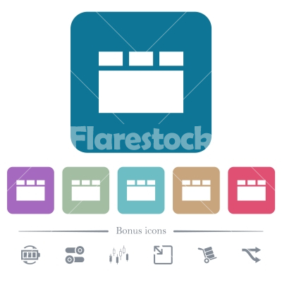 Horizontal tabbed layout flat icons on color rounded square backgrounds - Horizontal tabbed layout white flat icons on color rounded square backgrounds. 6 bonus icons included