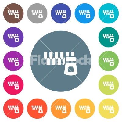 Horizontal zipper flat white icons on round color backgrounds - Horizontal zipper flat white icons on round color backgrounds. 17 background color variations are included.