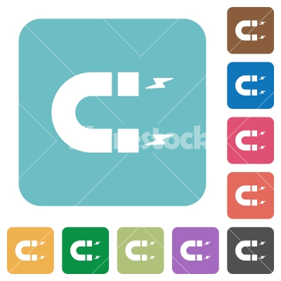 Horseshoe magnet rounded square flat icons - Horseshoe magnet white flat icons on color rounded square backgrounds