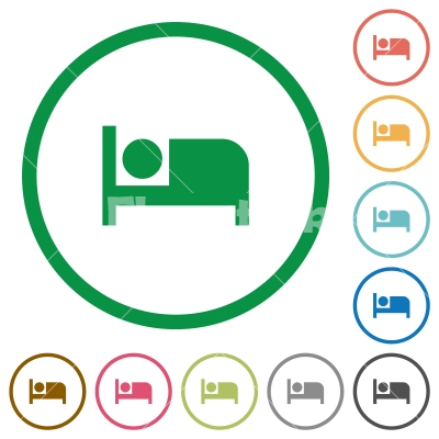 Hotel flat icons with outlines - Hotel flat color icons in round outlines on white background