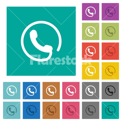 Hotline square flat multi colored icons - Hotline multi colored flat icons on plain square backgrounds. Included white and darker icon variations for hover or active effects.