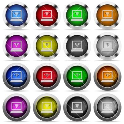 Hotspot button set - Set of hotspot glossy web buttons. Arranged layer structure. - Free stock vector