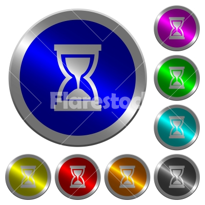 Hourglass luminous coin-like round color buttons - Hourglass icons on round luminous coin-like color steel buttons