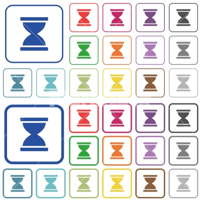 Hourglass outlined flat color icons - Hourglass color flat icons in rounded square frames. Thin and thick versions included.
