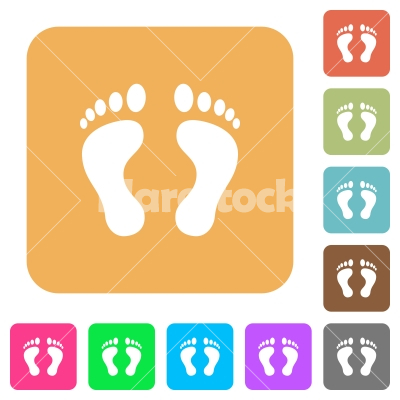 Human Footprints rounded square flat icons - Human Footprints flat icons on rounded square vivid color backgrounds.
