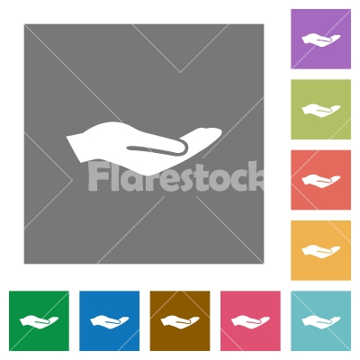 Human hand square flat icons - Human hand flat icons on simple color square backgrounds - Free stock vector