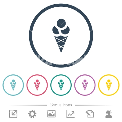 Ice cream flat color icons in round outlines - Ice cream flat color icons in round outlines. 6 bonus icons included.