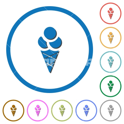 Ice cream icons with shadows and outlines - Ice cream flat color vector icons with shadows in round outlines on white background