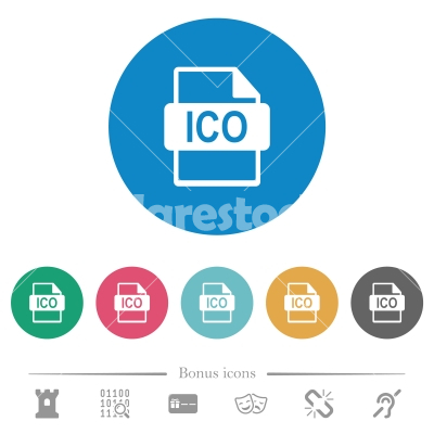 ICO file format flat round icons - ICO file format flat white icons on round color backgrounds. 6 bonus icons included.