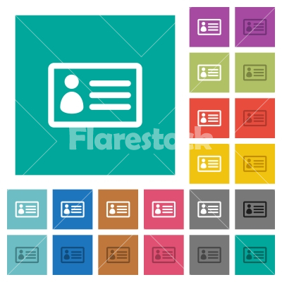 id card square flat multi colored icons stock vector flarestock