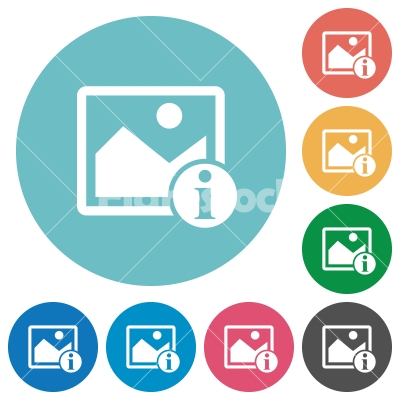 Image info flat round icons - Image info flat white icons on round color backgrounds