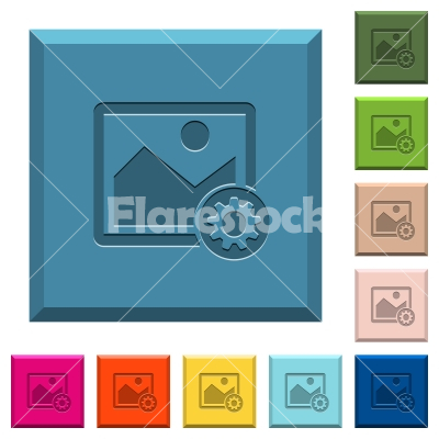 Image settings engraved icons on edged square buttons - Image settings engraved icons on edged square buttons in various trendy colors