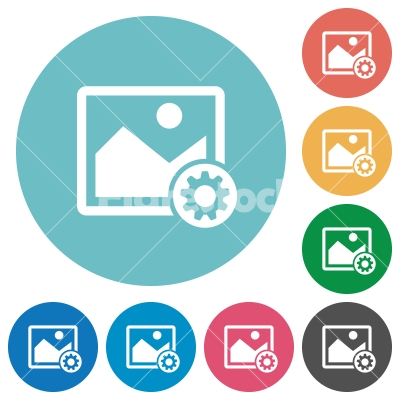 Image settings flat round icons - Image settings flat white icons on round color backgrounds