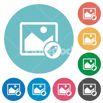 Image tagging flat round icons - Image tagging flat white icons on round color backgrounds