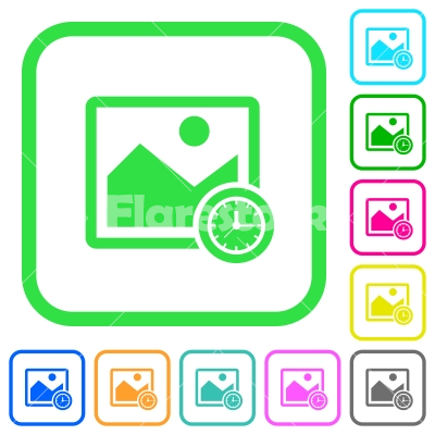 Image time vivid colored flat icons - Image time vivid colored flat icons in curved borders on white background