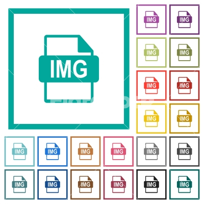 IMG file format flat color icons with quadrant frames - IMG file format flat color icons with quadrant frames on white background