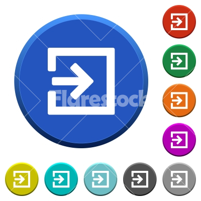 Import beveled buttons - Import round color beveled buttons with smooth surfaces and flat white icons