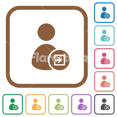 Import user data simple icons - Import user data simple icons in color rounded square frames on white background