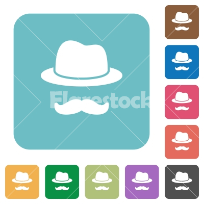 Incognito with mustache rounded square flat icons - Incognito with mustache white flat icons on color rounded square backgrounds