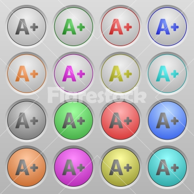 Increase font size plastic sunk buttons - Set of Increase font size plastic sunk spherical buttons.