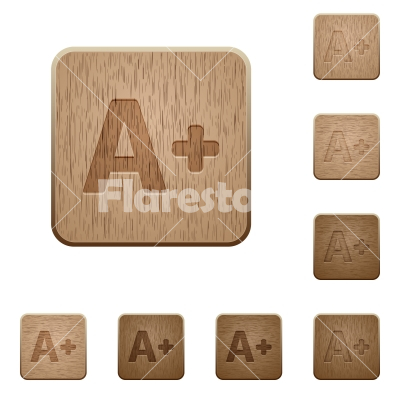 Increase font size wooden buttons - Set of carved wooden Increase font size buttons in 8 variations.