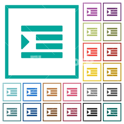 Increase text indentation flat color icons with quadrant frames - Increase text indentation flat color icons with quadrant frames on white background