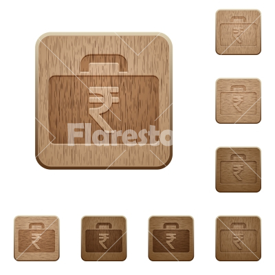 Indian Rupee bag wooden buttons - Set of carved wooden indian Rupee bag in 8 variations. - Free stock vector