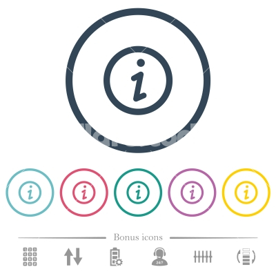 Information flat color icons in round outlines - Information flat color icons in round outlines. 6 bonus icons included.