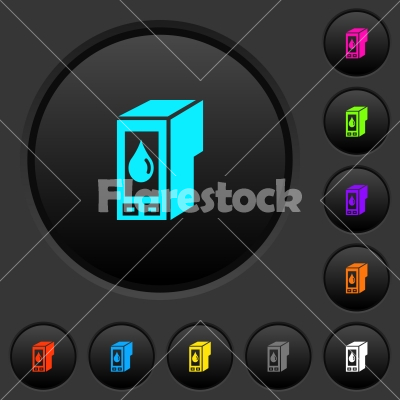 Ink cartridge dark push buttons with color icons - Ink cartridge dark push buttons with vivid color icons on dark grey background