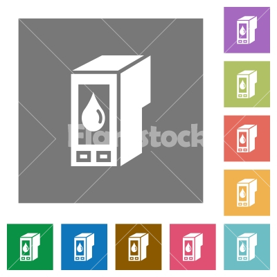 Ink cartridge square flat icons - Ink cartridge flat icon set on color square background. - Free stock vector