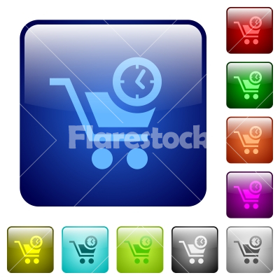 Instant purchase color square buttons - Stock vector