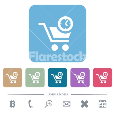 Instant purchase flat icons on color rounded square backgrounds - Instant purchase white flat icons on color rounded square backgrounds. 6 bonus icons included