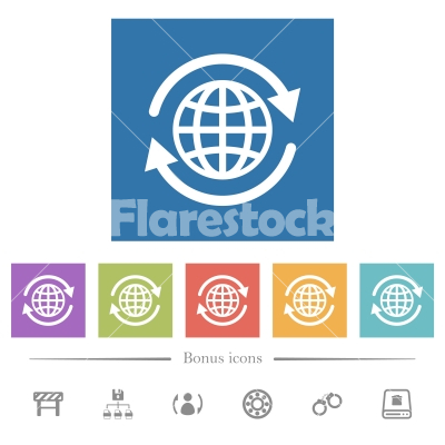 International flat white icons in square backgrounds - International flat white icons in square backgrounds. 6 bonus icons included.