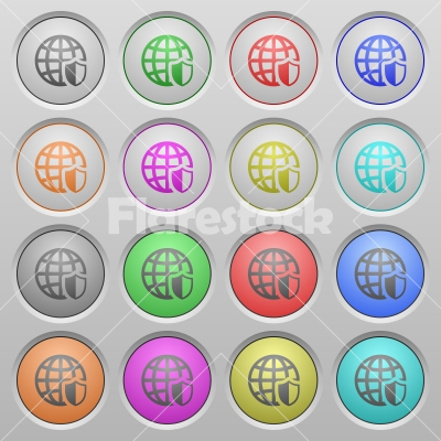Internet security plastic sunk buttons - Set of internet security plastic sunk spherical buttons. - Free stock vector
