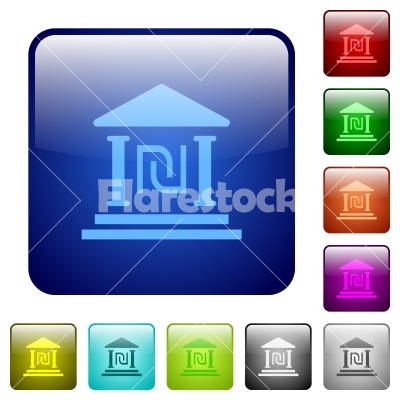 Israeli new Shekel bank office color square buttons - Israeli new Shekel bank office icons in rounded square color glossy button set